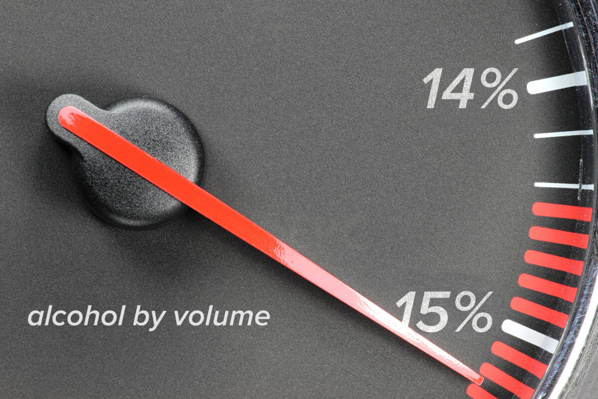 gauge showing high alcohol