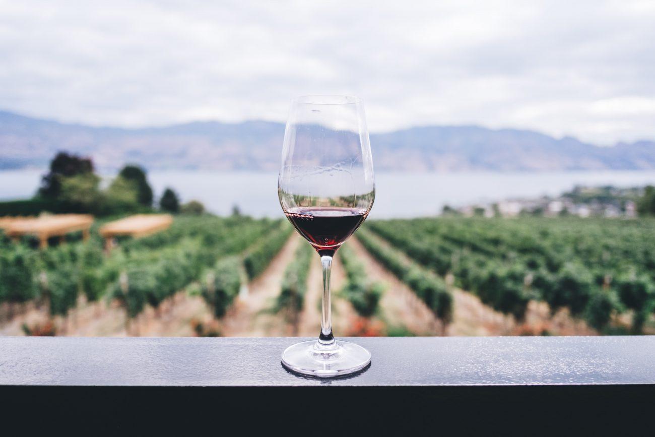wine glass on railing