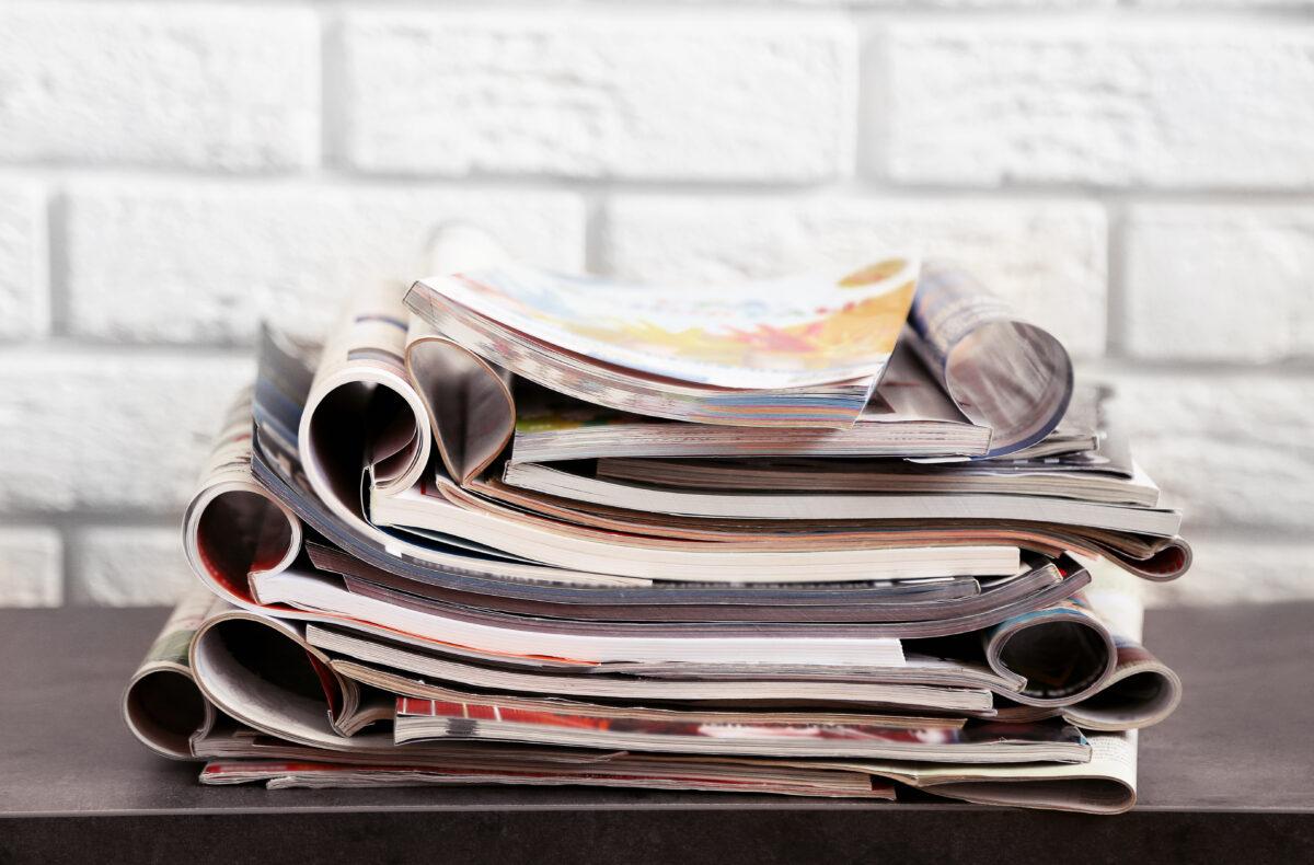 magazines stacked