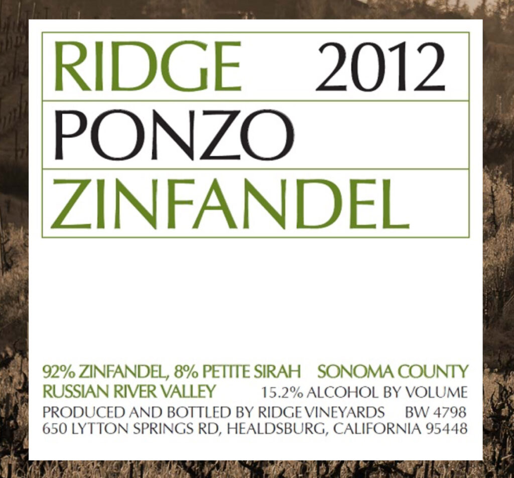 Ridge Vineyards 2012 Ponzo Zinfandel Label showing alcohol of 15.2%