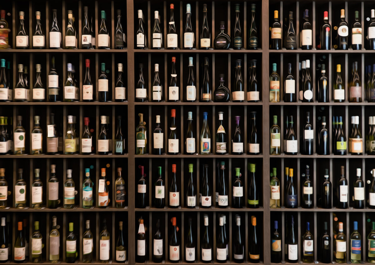 wall of wine