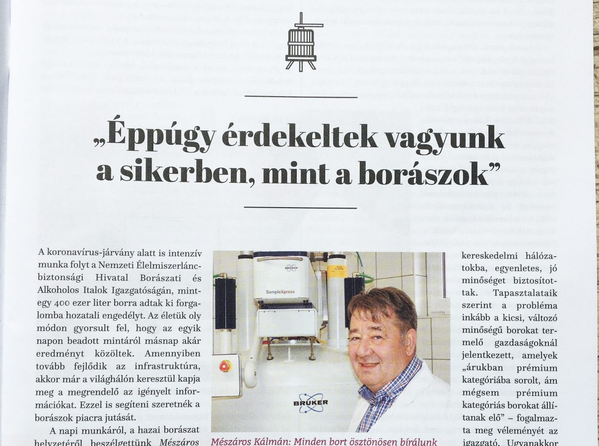 Front page of Hungarian Winemakers Journal