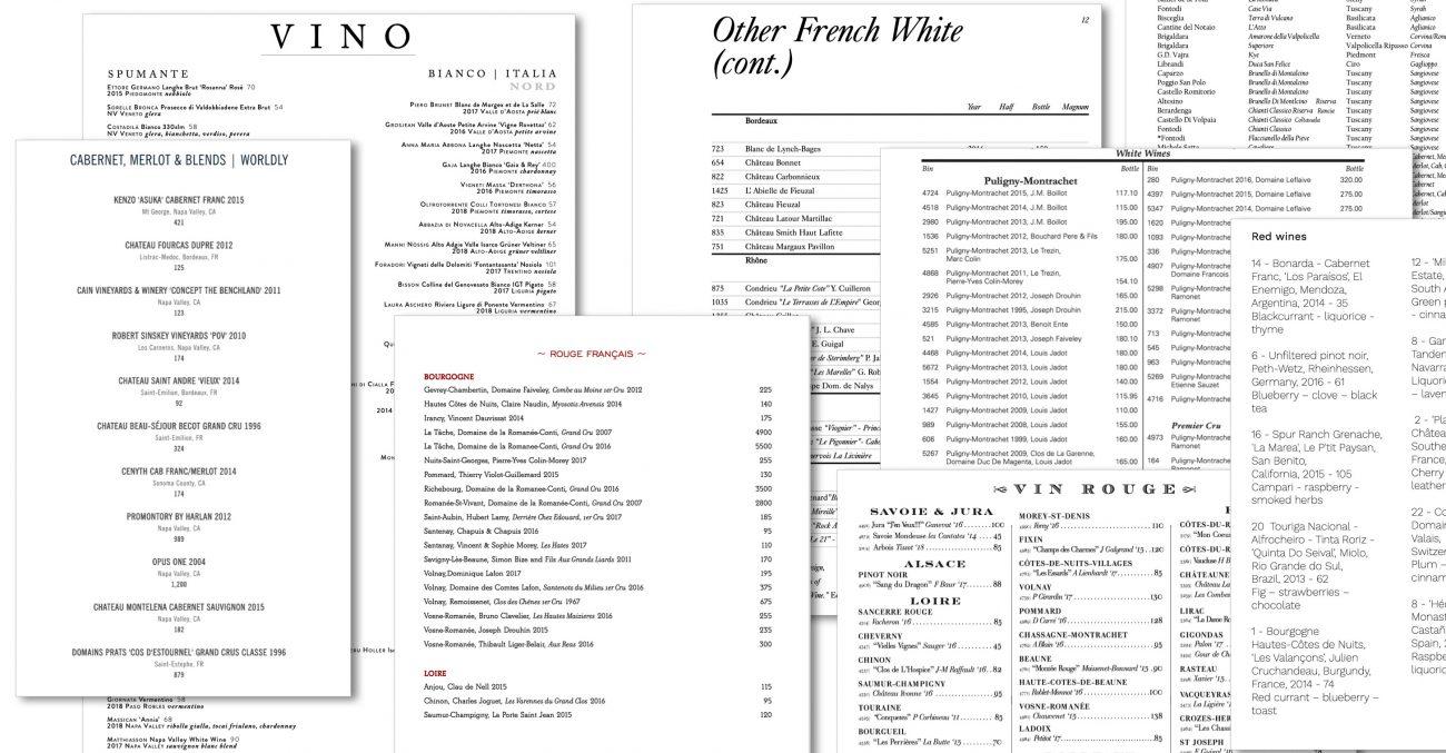 wine lists