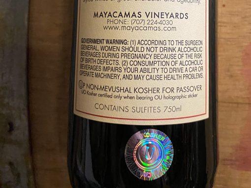 back label of Mayacamas kosher wine